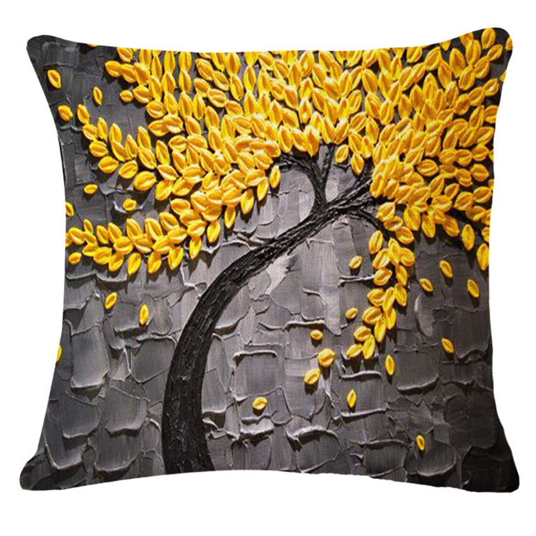Hot pink flower bedding - Jinbeile Oil Painting Yellow Flower And Black Tree Cotton Linen Throw Pillow Cover Case Cushion Home