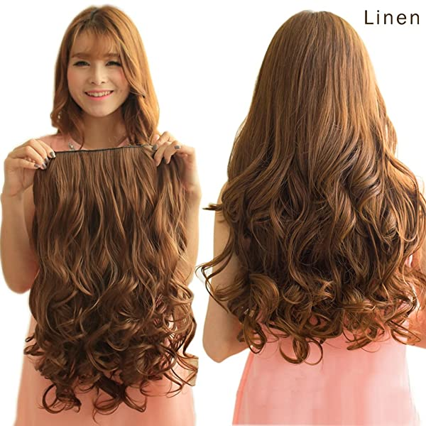 REECHO 20 1-pack 3/4 Full Head Curly Wave Clips in on Synthetic Hair Extensions Hair pieces for Women 5 Clips 4.6 Oz Per Piece - Dark brown (Color: Dark Brown, Tamaño: 20 inches)