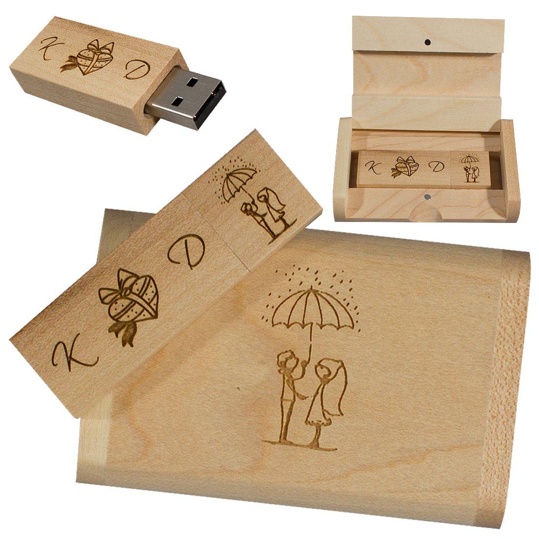 Memoria flash en caja de madera ecológica