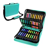 YOUSHARES Colored Pencil & Gel Pen Case in Large Flexible Slot - PU Leather Colored Pencil Case with Zipper Holds 180 Colored Pencils or 140 Gel Pens - for Watercolor Pencils, Gel Pens(Green) (Color: Green)