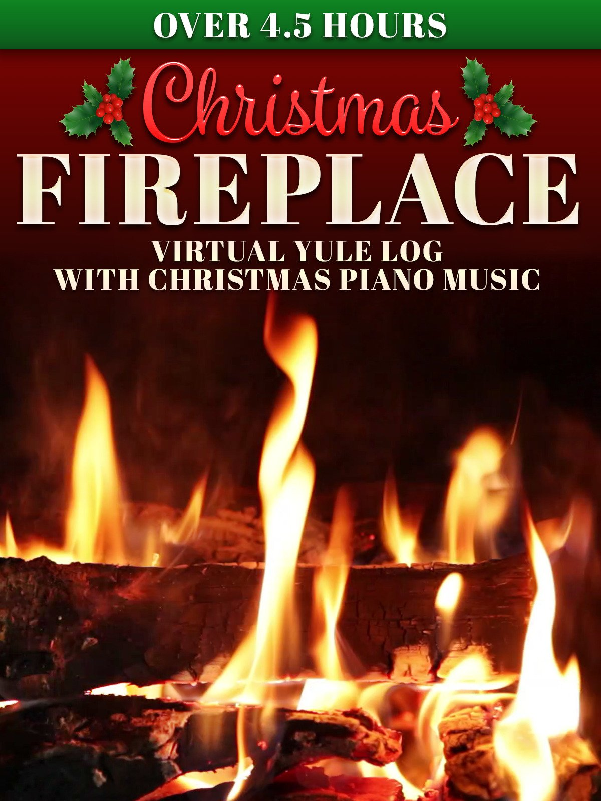 Christmas Fireplace: Virtual Yule Log with Christmas Piano Music