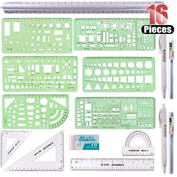 Hilitchi 16 Pcs Pack Plastic Measuring Templates Building Formwork Stencils Geometric Building Furniture Drawing Template Geometry Rulers and Drafting Scale Ruler with Eraser Pencil and Refills