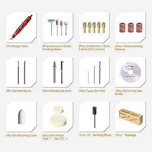 SPTA AC110-230V Mini Electric Grinder Set/Mini Handle Electric Drill Grinding Machine Engraving Pen Milling Trimming Polishing Drilling Cutting Engraving Tool Kit For Dremel Pack of 33Pcs (Color: 18V Mini Rotary Tools Set)