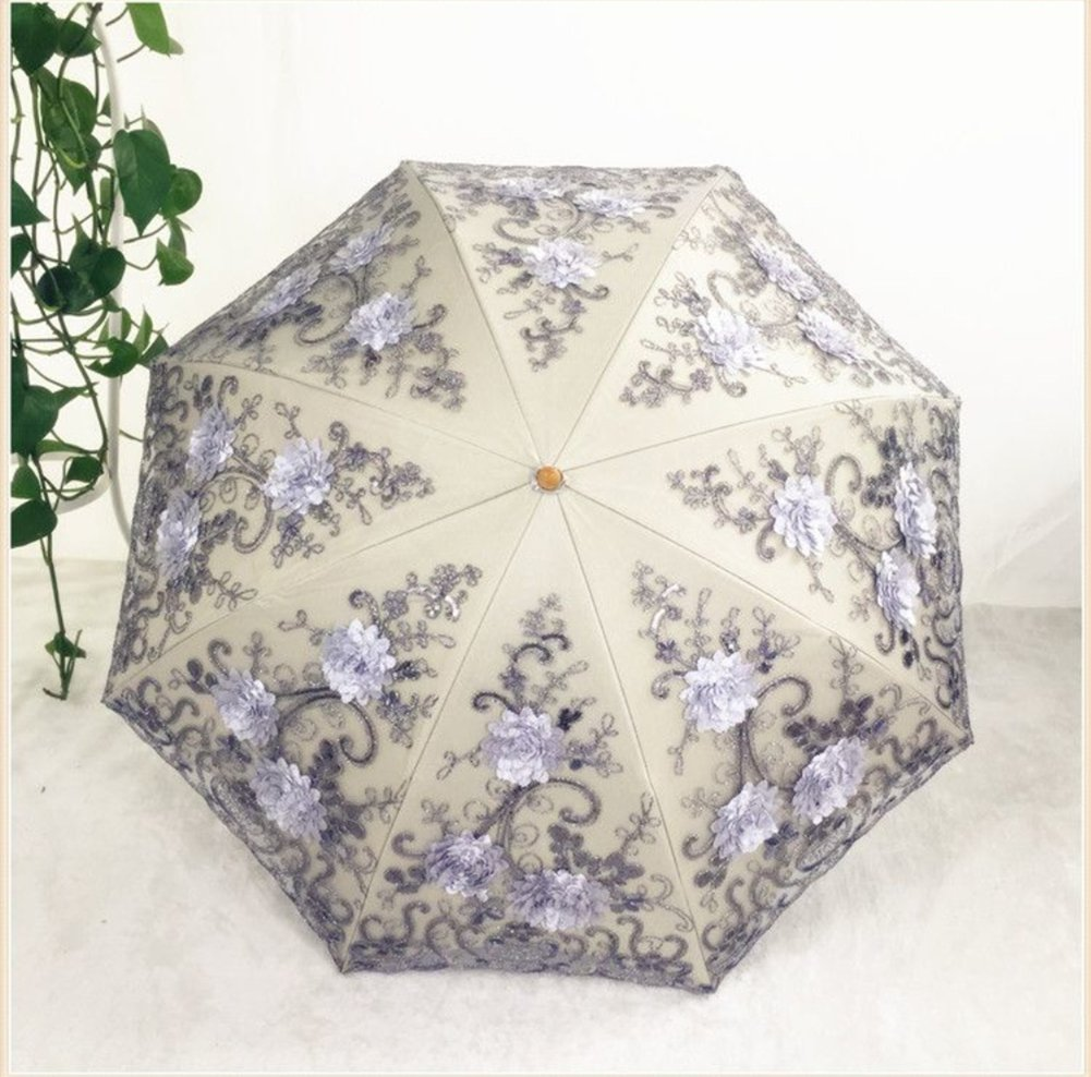 Honeystore Vintage Lace UV Sun Parasol Two Folding 3D Flower Embroidery Umbrella 1
