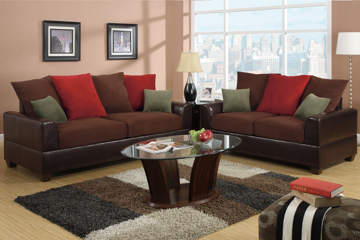 Poundex Bobkona 2-Piece Versatile Contemporary Tones Sofa Set - Chocolate