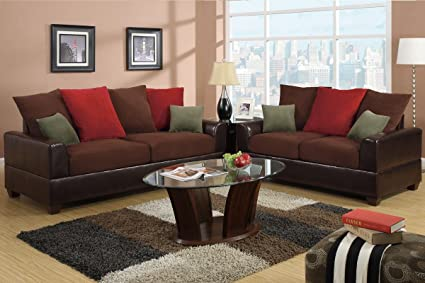 2 pc 2 tone plush microfiber and espresso bonded leather Sofa and Love seat set with multi color pillows