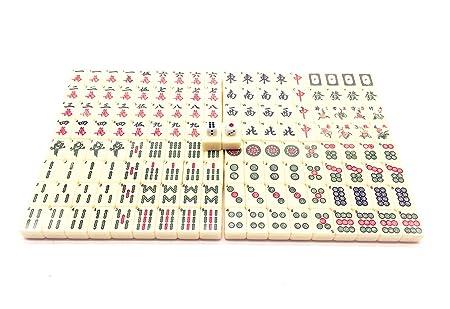 Qiandier Standard Mahjong Chinese Ensemble de Jeu Taille moyenne 24mm et Sac de Rangement Remarques Nombre ou Lettres
