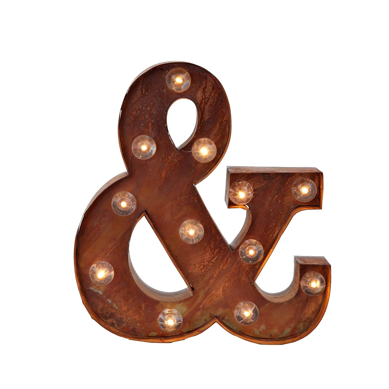 Vintage Lighted Ampersand Symbol Battery Marquee Light with 12 Warm White LEDs, Rustic Metal, Timer Option Available 0