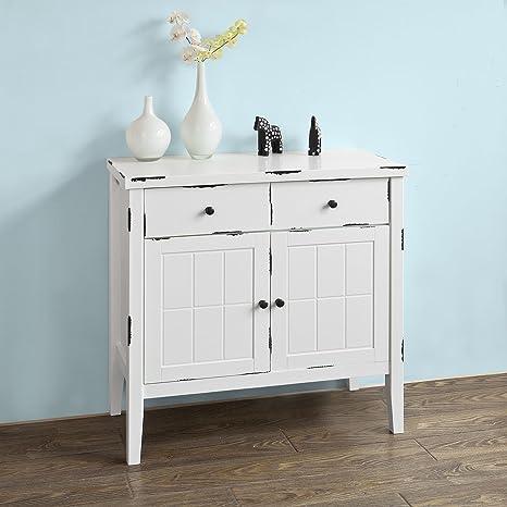 SoBuy® Cómoda shabby con 2 cajones, Armario blanco estilo retro shabby chic, FRG136-W, ES