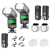 Neewer® PRO NW670 E-TTL Photo Flash Kit for CANON Rebel T5i T4i T3i T3 T2i T1i XSi XTi SL1, EOS 700D 650D 600D 1100D 550D 500D 450D 400D 100D 300D 60D 70D DSLR Cameras, Canon EOS M Compact Cameras - Includes: 2 Neewer Auto-Focus Flash with LCD Screen + 2.4 GHz Wireless Trigger (1 Transmitter, 2 Receivers) + 2 Cables(C1-Cord + C3-Cord Cables) + 2 Hard & Soft Flash Diffuser + 2 Lens Cap Holder