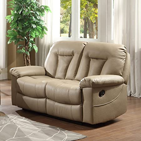 Homelegance Cade Double Reclining Loveseat in Taupe Leather