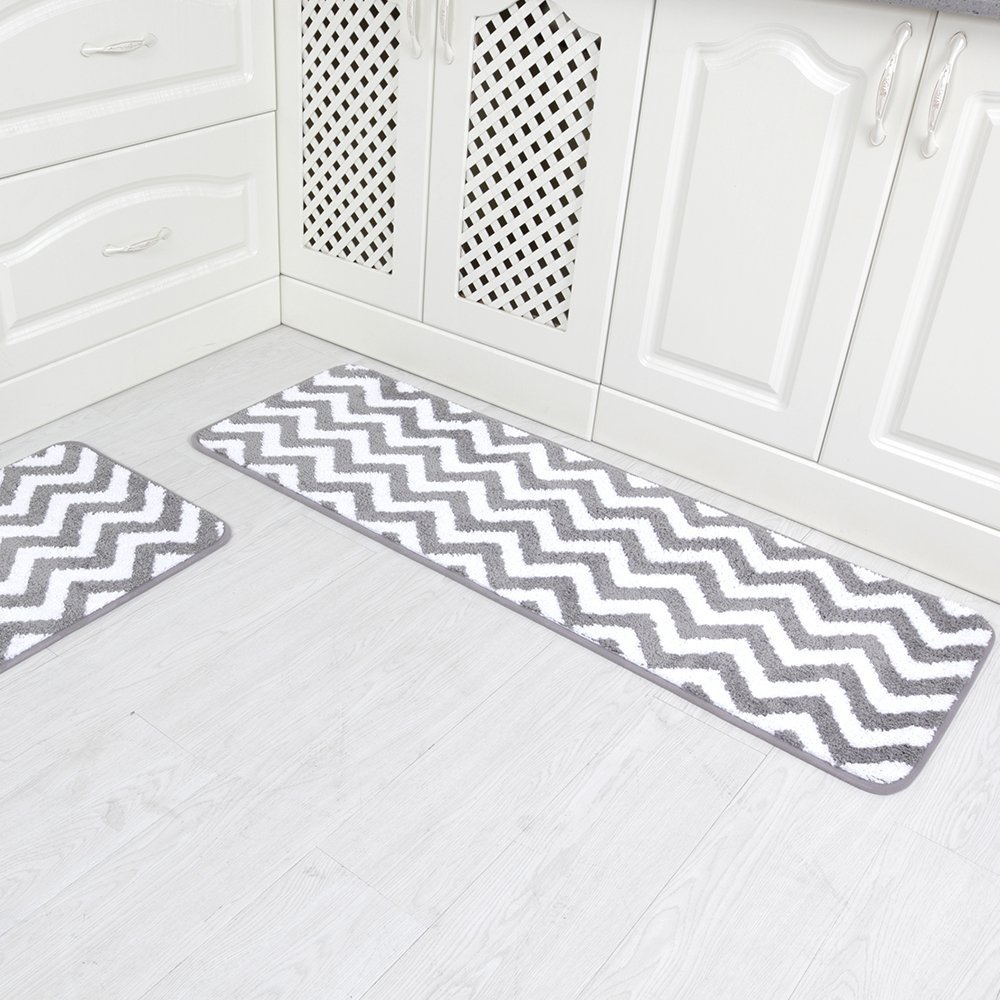 Chevron Kitchen Rug: Carvapet 2 Pieces Microfiber Chevron Non-Slip Soft Kitchen