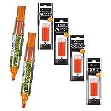 Refillable Dry Erase Markers, Pilot V Board Master, 2 Orange Ink Chisel Tip Markers with 4 Refills (Color: Orange, Tamaño: 6-Pack)