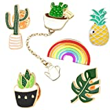 GuassLee Cute Enamel Lapel Pin Set - 6pcs Cartoon Brooch Pin Badges for Clothes Bags Backpacks - Rainbow Cactus Succulent Leaves Pineapple (Color: Black)