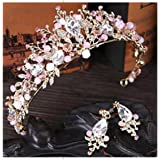 Tmrow Bridal Wedding Prom Rhinestone Crystal Crown Hairband & Earrings Tiara Hair Jewelry for Womens Girls (Color: As picture, Tamaño: As description)