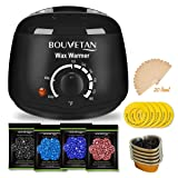 Wax Warmer, Professional Hair Removal Waxing Kit + 4 Scents Hard Wax Beans(3.5oz/Pack) + 20 Wax Applicator Sticks + 5 Protective Collars + 5 Small Bowls (Professional-grade Home Wax Kit) (15) (T01)