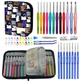 All-in-One Crochet Hooks Set with Value Storage Bag, 12 Extreme Long Ergonomic Crochet Hooks & 8 Lace Crochet Hooks with Crochet Accessories, Perfect Gift