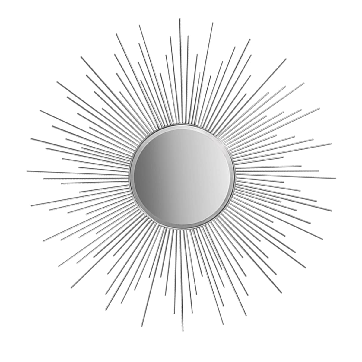 """36"""" Decorative Wall Hanging Mirror in Sunburst Shape, Brushed Metal Sunburst Round Wall Mirror, Mid Century Modern Style Mirror, Brushed Metallic Finish in Gold, Copper or Silver (Silver)"""