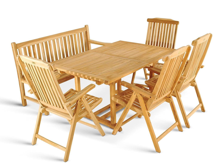 6 teilige Teak Gartengruppe Gartenmöbel Set mit Auszugstisch 150 - 200cm eine Gartenbank und vier Hochlehner