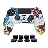 PS4 Controller Cover Silicone Gel Protector Skin Soft case for Sony Playstation 4 PS4/PS4 Slim/PS4 Pro Controller Video Games(1x Controller Cover with 8 x FPS Pro Thumb Grip Caps)(White Paint) (Color: Paint White, Tamaño: PS4 Print Style)