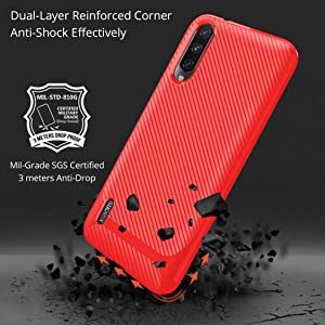 MISIDE Case for Xiaomi Mi A3 Case,with Xiaomi Mi A3 Screen Protector.3 in 1 Scratch Resistant Slim Shockproof Carbon Fiber Cover + 9H Tempered Glass Screen Protector (Red) (Color: Red)