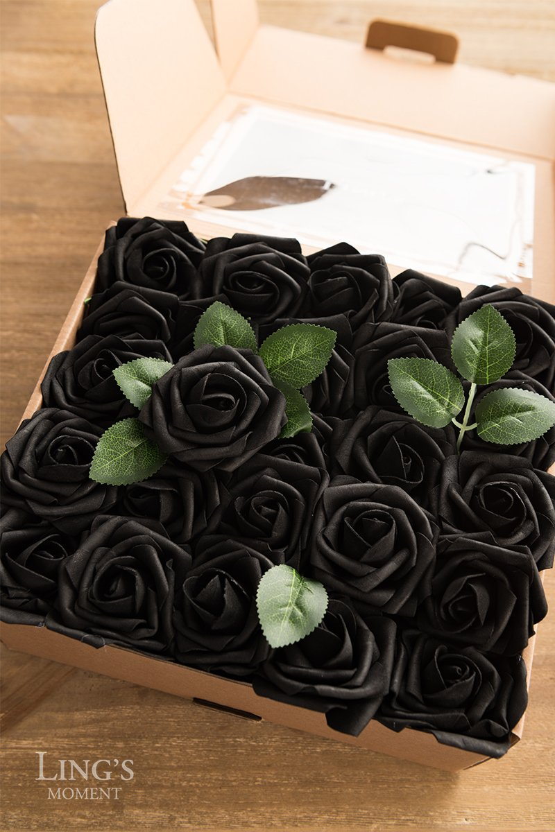 Lings moment Artificial Flowers Black Roses 50pcs Real Looking Fake ...