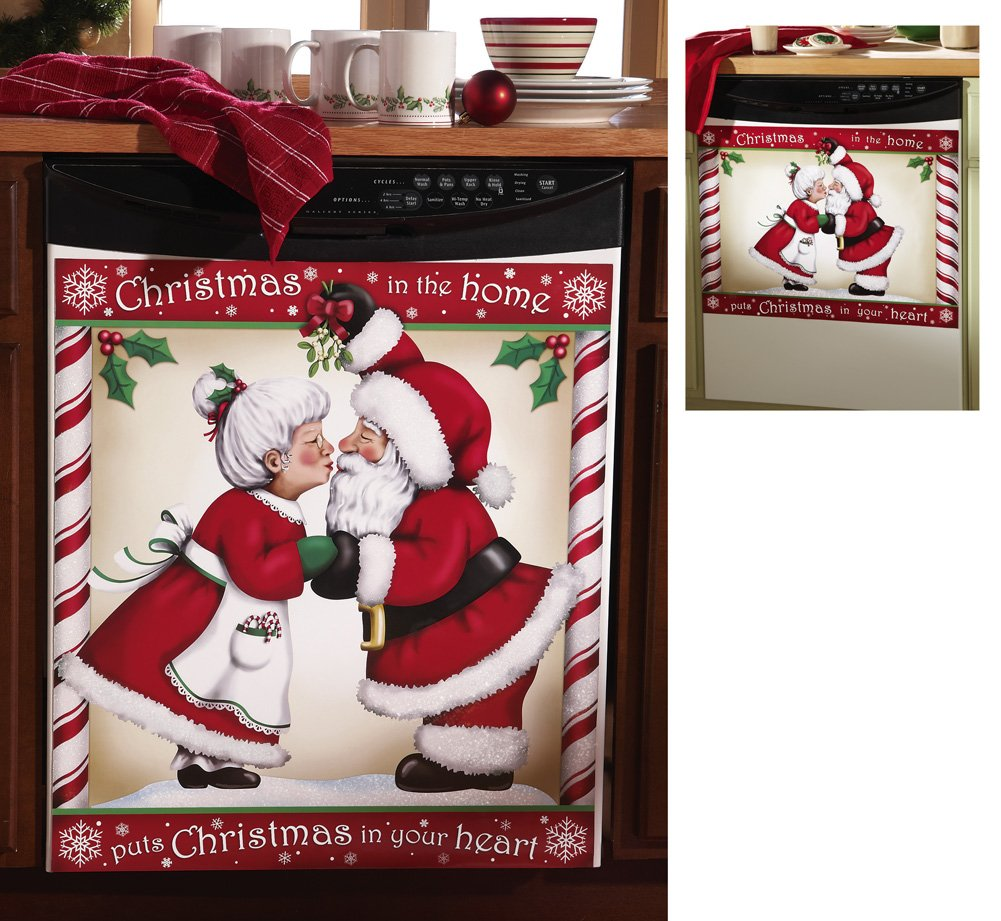 Kissing Santa Christmas Magnetic Dishwasher Cover Small