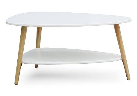 Mesa de centro Blanco Natural con patas madera 90 x 67 x 45 cm retro café mesa auxiliar rústico nuevo