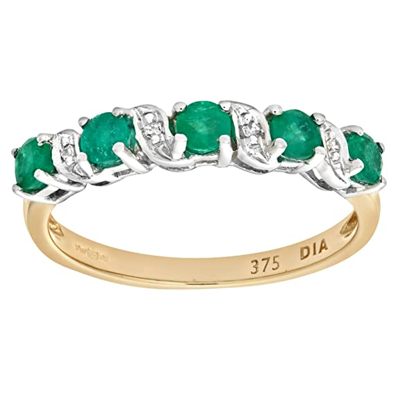 Naava 9ct Yellow Gold Emerald And Diamond Eternity Ring