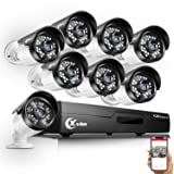 XVIM 8CH HD-TVI 720P Security Camera System,1080N HDMI CCTV DVR Recorder with 8pcs 1.0MP 720P 85ft Night Vision Outdoor Weatherproof Bullet Home Surveillance Cameras(No Hard Drive)