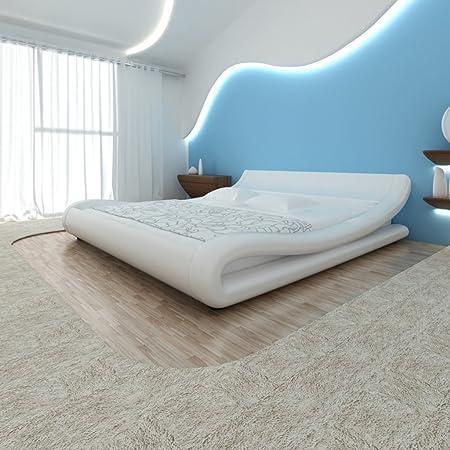 Marco de la cama de cuero artificial de 140 x 200 cm Curl Blanco