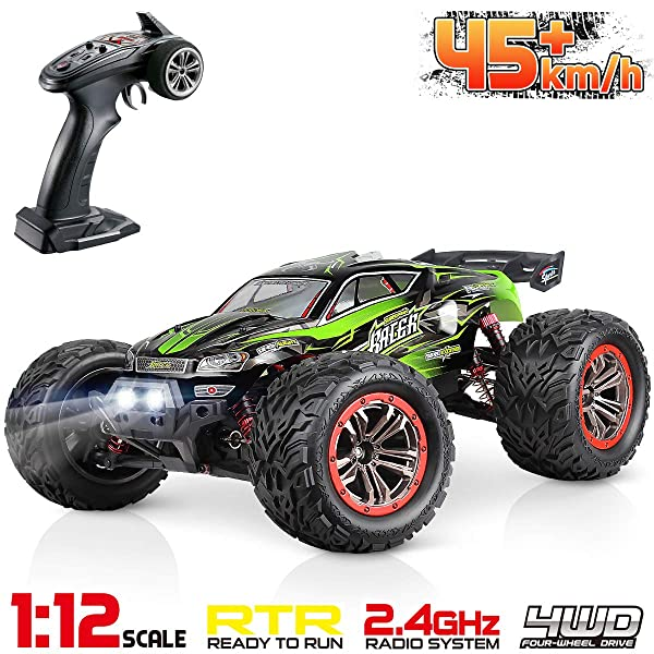 Hosim Large Size 1:12 Scale High Speed 45km+/h 4WD 2.4Ghz Remote Control Truck 9156, Radio Controlled Off-Road RC Car Electronic Monster Truck R/C RTR Hobby Grade Cross-Country Car (Green)