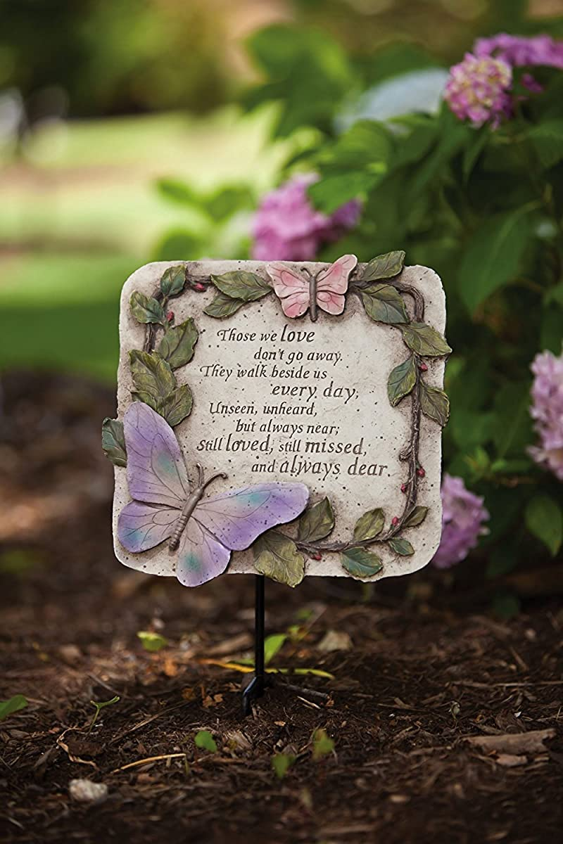 """Evergreen Garden Those We Love Don't Go Away Polystone Memorial Stepping Stone - 10""""W x 1""""D x 10""""H"""