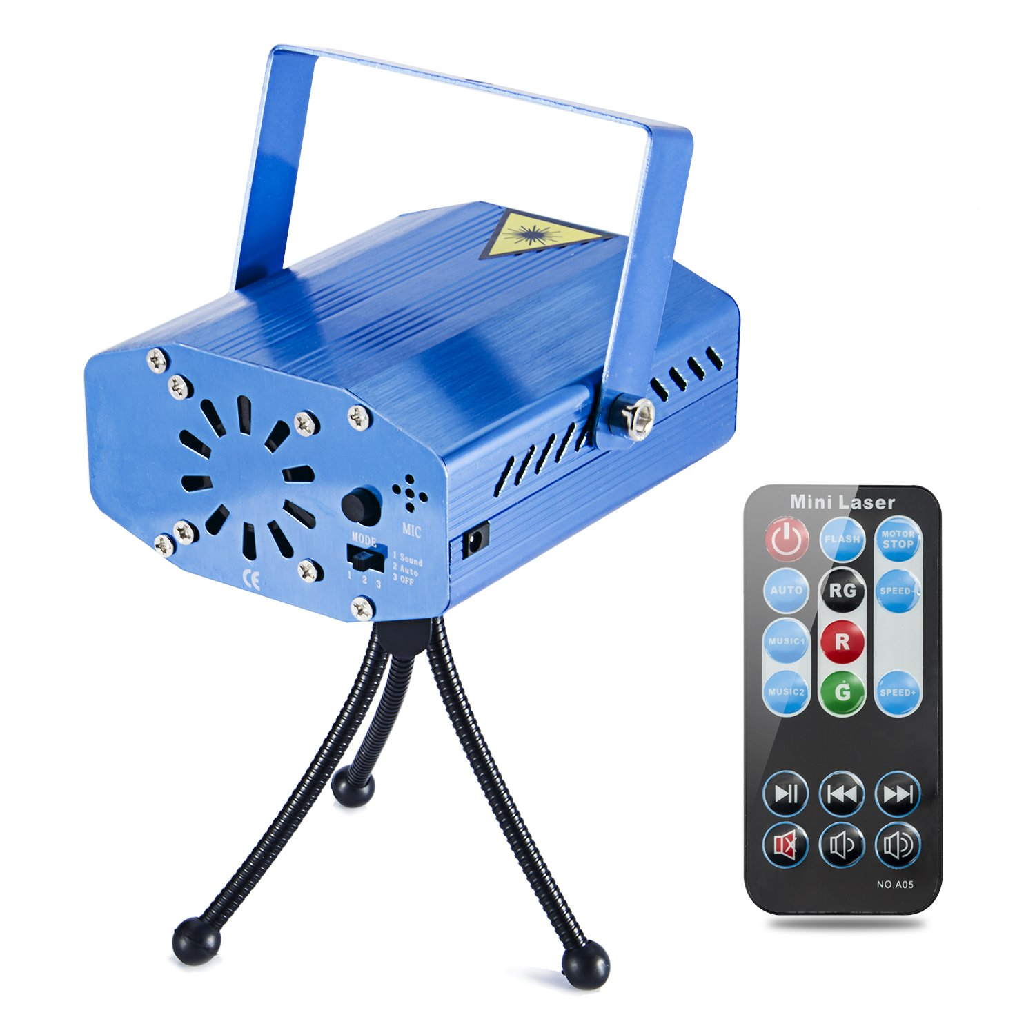 Coidea Stage Laser Lights 7 Modes Sound Actived Auto Flash Rgb Led Stage Projector Light with Remote Control (Blue)