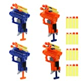4 Pack Mini Foam Dart Toy Guns Foam Guns,Blaster Gun Toy With 16 Foam Darts(Only Matched Bullets), Great Sport Party Favors Spring Powered Gun Kit for