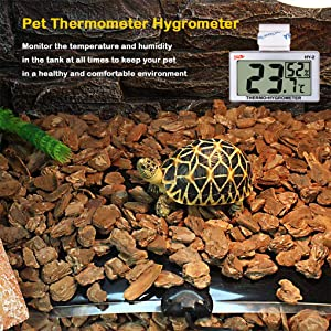 GXSTWU Reptile Hygrometer Thermometer LCD Display Digital Reptile Tank Hygrometer Thermometer with Hook and Velcro Temperature Humidity Meter Gauge for Reptile Tanks, Terrariums, Vivarium 1pack (Color: white, Tamaño: 1 pack)