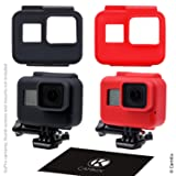 CamKix replacement Silicone Sleeve Cases compatible with The Frame of your Gopro Hero 5 (Color: Red + Black, Tamaño: 2x Frame Case)