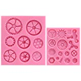 Funshowcase Steampunk Style Clock Watch Wheel Cogs Gears Candy Silicone Mold for Sugarcraft, Cake Decoration, Cupcake Topper, Fondant, Jewelry, Polymer Clay, Crafting Projects, 2 in Set (Color: 2-pack ( 1225 ))