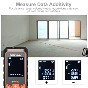 LOMVUM Laser Measure 393Ft Mute Digital Laser Distance Meter with Backlit LCD and Pythagorean Mode, Measure Distance, Area and Volume - Carry Pouch and Battery Included (Color: Black&Orange, Tamaño: 393FT / 120M)