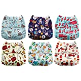 Mama Koala One Size Baby Washable Reusable Pocket Cloth Diapers, 6 Pack with 6 One Size Microfiber Inserts (Dream Big) (Color: Dream Big, Tamaño: One Size)