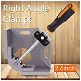 Right Angle Clamps,Corner Clamp Single Handle 90°Aluminum Alloy Corner Clamp for Carpenter, Welding, Engineering, Photo Framing,Adjustable Swing Jaw(Width:3.7'',Opening:2.7''),Grey