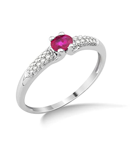 Miore 9ct White Gold Ruby and Pave Set Diamond Ring MG9125R