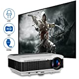 EUG 3900 Lumens LED LCD Home Video Projector Cinema Theater System HD Support 1080p Movies Games with Built-in Speakers Zoom Keystone Remote HDMI USB VGA AV TV RCA Multimedia for Indoor Outdoor (Color: 3900Lumen Home Theater Projector HDMI)