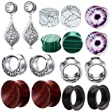 TIANCI FBYJS 8 Pairs Dangle Ear Tunnels Earring Gauges Silicone Stone Piercing Plugs 00g (16mm=5/8'')