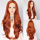 Tangerine Orange Natural Wavy Party Blogger Daily Makeup Synthetic Lace Front Wigs (Color: Orange, Tamaño: 24'')