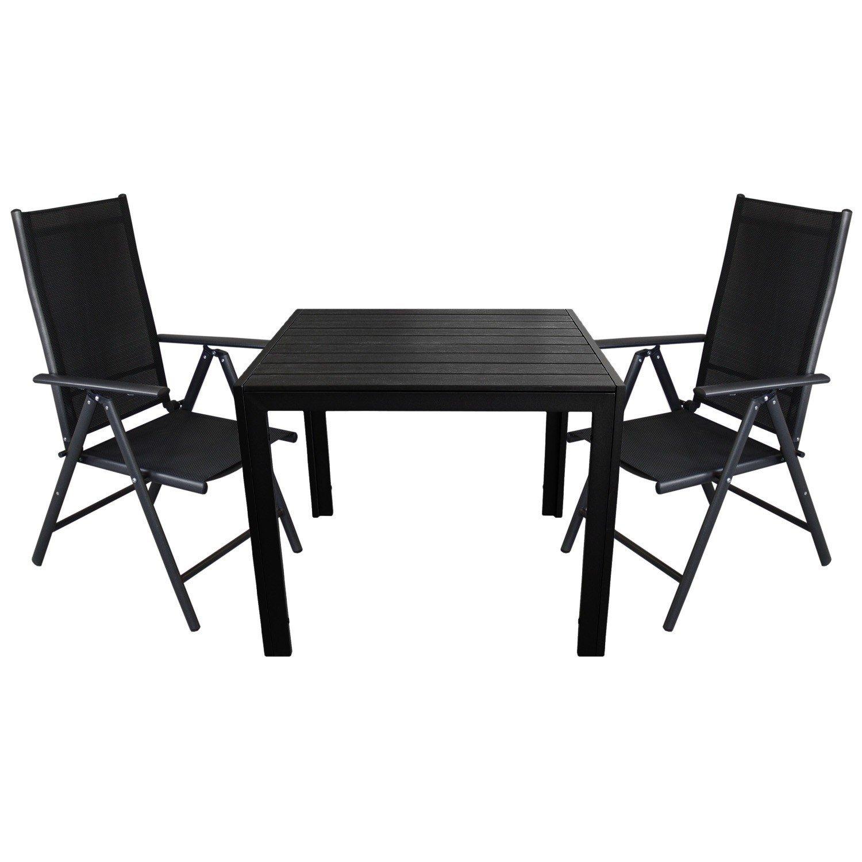 3tlg. Gartengarnitur - Aluminium Gartentisch 90x90cm, Polywood Tischplatte + 2x Hochlehner mit 2x2 Textilenbespannung, Lehne um 7 Positionen verstellbar, klappbar - Gartenmöbel Sitzgruppe Sitzgarnitur