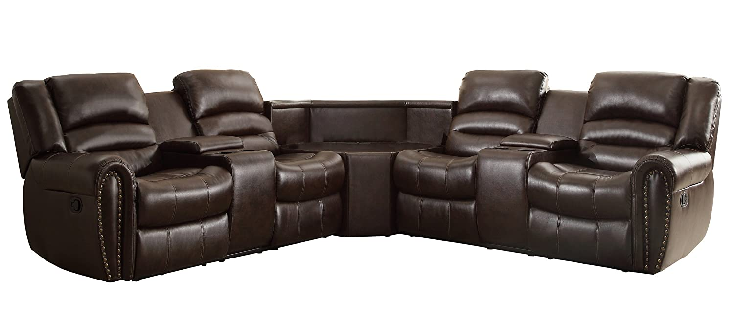 Homelegance 3 Piece Bonded Leather Sectional Reclining Nail Head Accent Sofa with Wide Center Console & 2 Cup Holders