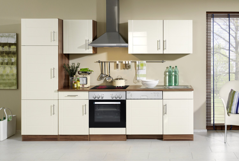 Held Möbel 691.6034 Küchenzeile 280 in Hochglanz-creme / nussbaum mit E-Geräten