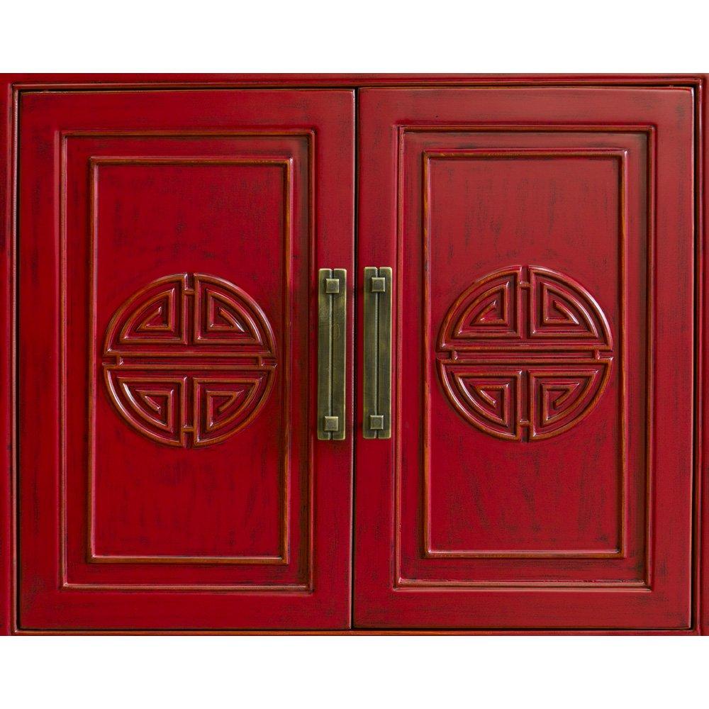 China Furniture Online Elmwood Sideboard, Zen Longevity Design Cabinet Distressed Red Finish 4