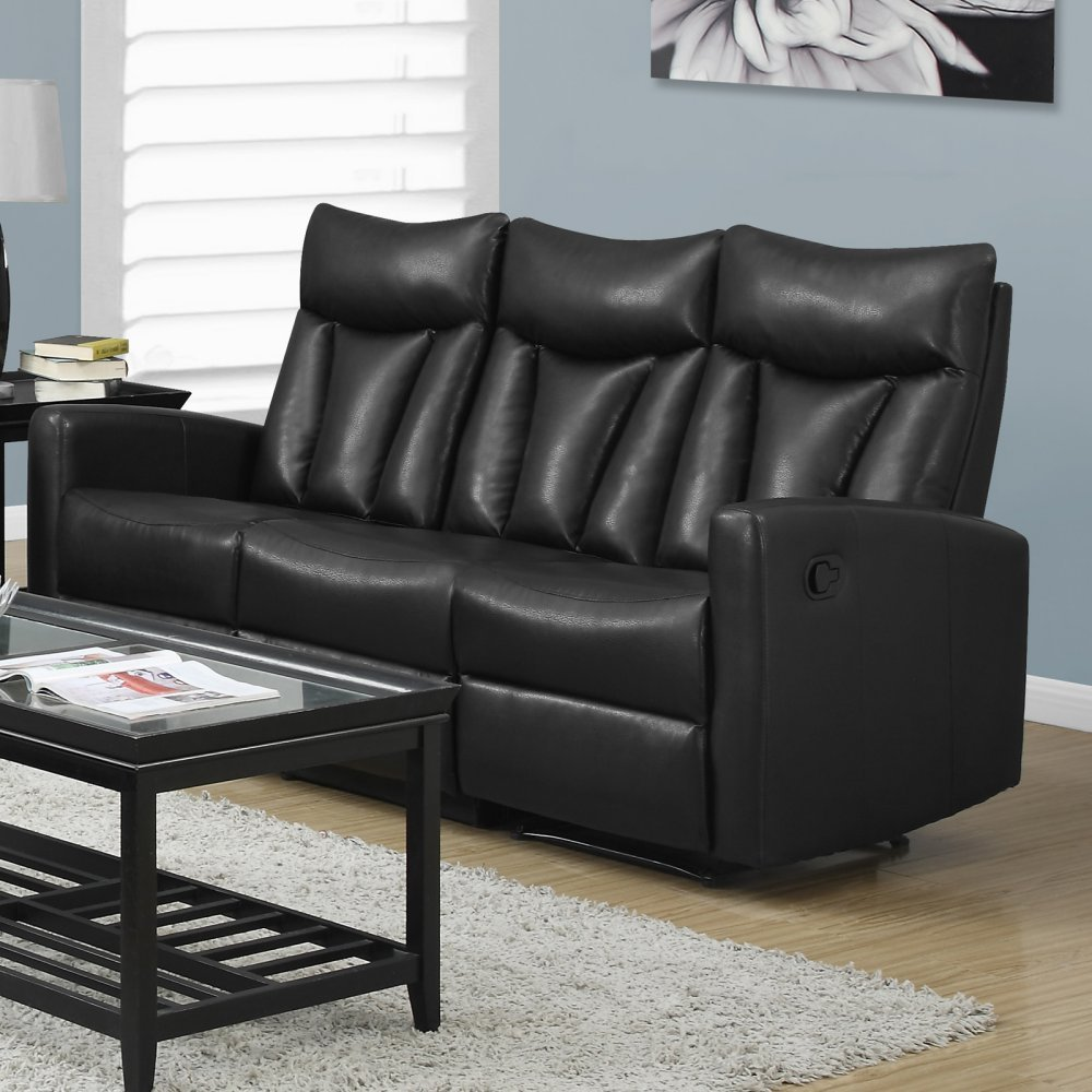 Monarch Specialties Reclining - Sofa Black Bonded Leather
